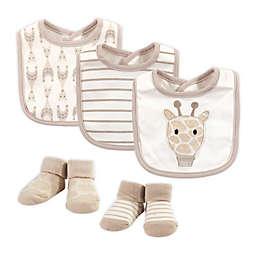 Hudson Baby® Size 0-9M 5-Piece Giraffe Bib and Sock Set in Beige