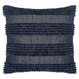 Calvin Klein Denim Fringe Square Throw Pillow in Indigo