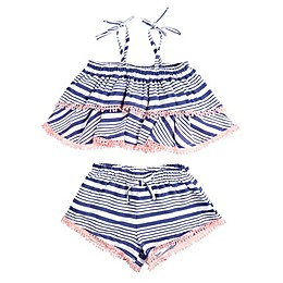 Jessica Simpson 2-Piece Stonewash Stripe Tank and Short Set in Blue