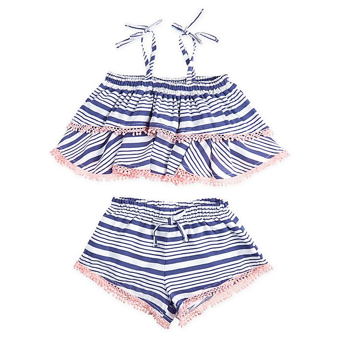 Alternate image 1 for Jessica Simpson 2-Piece Stonewash Stripe Tank and Short Set in Blue