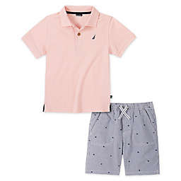 Nautica® Size 3-6M 2-Piece Polo Short Set in Pink/Seersucker