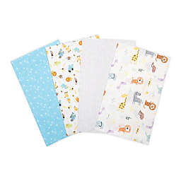 Trend Lab® 4-Pack Jungle Flannel Burp Cloth Set in White