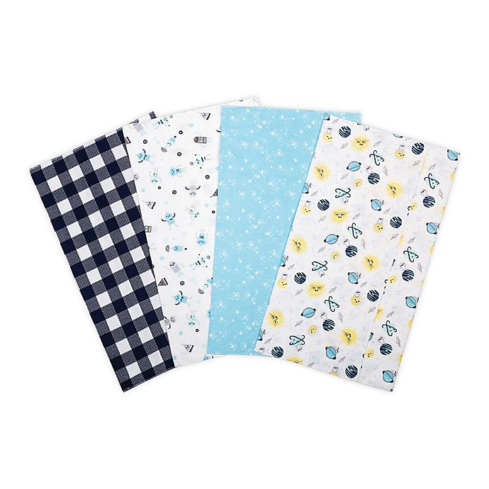 Alternate image 1 for Trend Lab® 4-Pack Out of This World Flannel Burp Cloth Set in Blue/Yellow