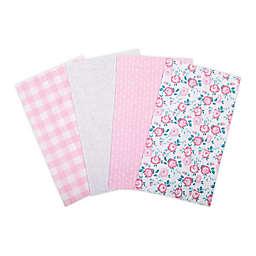 Trend Lab® 4-Pack Floral Flannel Burp Cloth Set in Pink