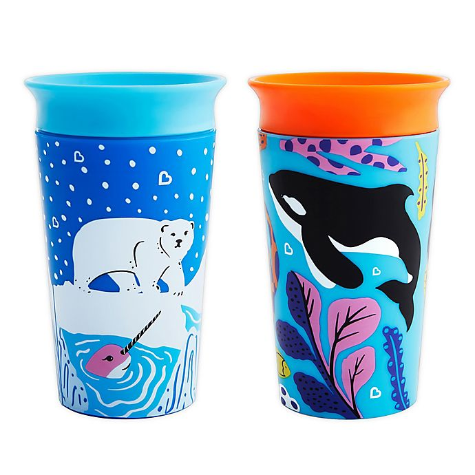 Alternate image 1 for Munchkin® Miracle® 360 WildLove Bear/Orca 2-Pack 9 oz. Sippy Cups
