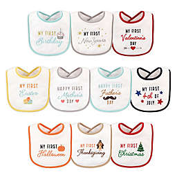 Hudson Baby® 10-Pack Holiday Bibs in White
