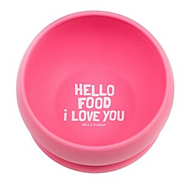 """Bella Tunno™ Silicone """"Hello Food I Love You"""" Toddler Wonder Bowl in Pink"""