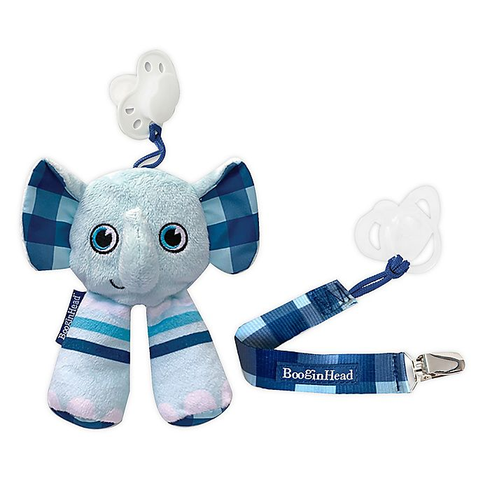 Alternate image 1 for Booginhead® Elephant 2-Piece PaciPal and PaciGrip Set in Blue