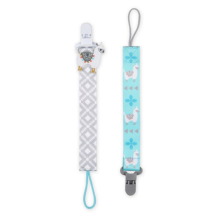 Alternate image 1 for The Peanutshell® Lllama Size 0-18M 2-Pack Pacifier Clip in Grey/Blue
