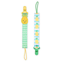 The Peanutshell® Pineapple Size 0-18M 2-Pack Pacifier Clips in Mint/Grey