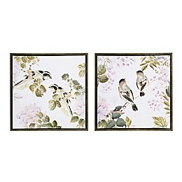 Martha Stewart Woodland Birds Framed 28.81-Inch x 28.81-Inch Canvas Wall Art in Multi (Set of 2)