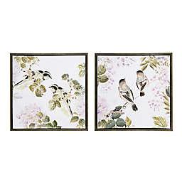 Martha Stewart Woodland Birds Framed 28.81-Inch x 28.81-Inch Canvas Wall Art in Multi (Set of 2)