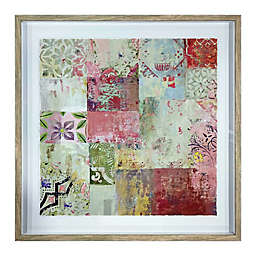 Global Caravan™ Patchwork Squares 24-Inch Square Framed Wall Art in Pink