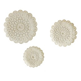 Madison Park Baley Wall Decor in White with Gold Brush (Set of 3)
