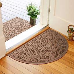 Weather Guard™  Boxwood 24-Inch x 39-Inch Half Oval Door Mat in Dark Brown