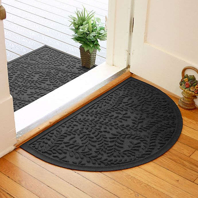 Alternate image 1 for Weather Guard™  Boxwood 24-Inch x 39-Inch Half Oval Door Mat in Charcoal