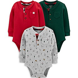 carter's® 3-Pack Holiday Henley Bodysuits