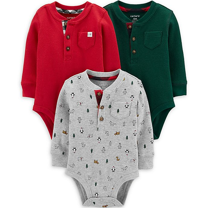 Alternate image 1 for carter's® 3-Pack Holiday Henley Bodysuits