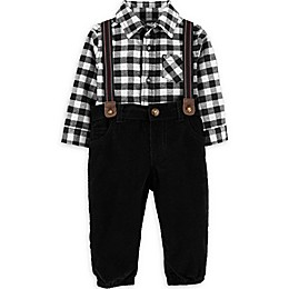 carter's® 3-Piece Gingham Bodysuit, Suspenders and Pant Set