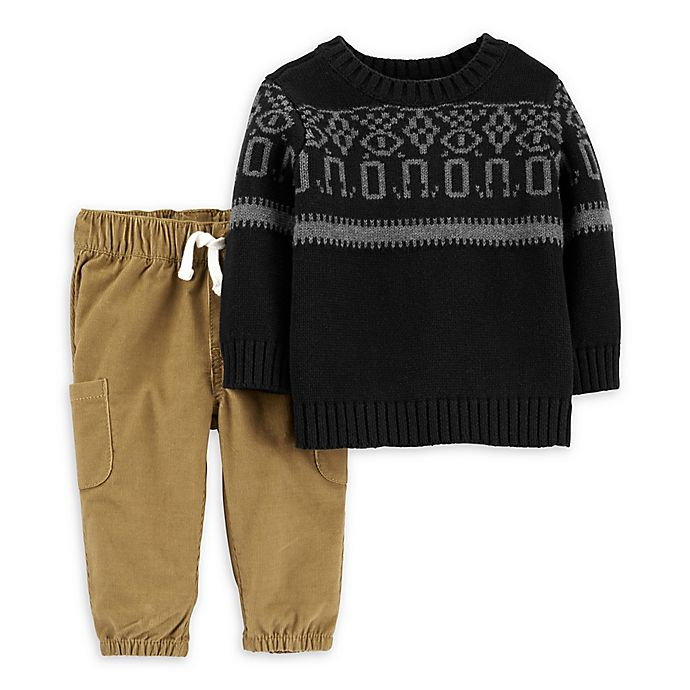 Alternate image 1 for carter's® 2-Piece Instarsia Sweater and Jogger Set in Black