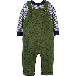 carter's® 2-Piece Woodland Animals Shirt and Overall Set in Navy/Green