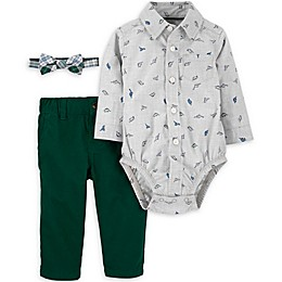 carter's® 3-Piece Dinosaur Bodysuit, Bow Tie, and Pant Set