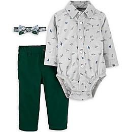 carter's® 3-Piece Dinosaur Bodysuit, Bow Tie, and Pant Set