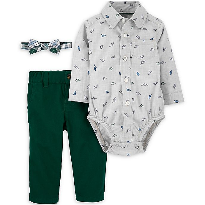 Alternate image 1 for carter's® 3-Piece Dinosaur Bodysuit, Bow Tie, and Pant Set