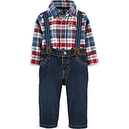 carter's® 3-Piece Plaid Bodysuit, Jeans, and Suspenders Set