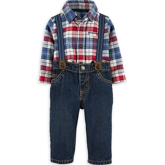 Alternate image 1 for carter's® 3-Piece Plaid Bodysuit, Jeans, and Suspenders Set
