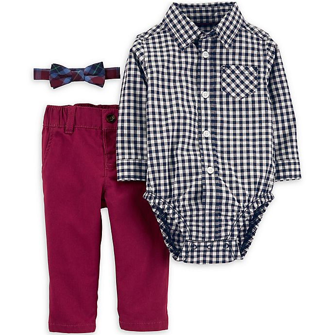 Alternate image 1 for carter's® 3-Piece Checkered Bodysuit, Bow Tie, and Pant Set