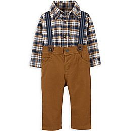 carter's® 3-Piece Plaid Shirt, Suspenders, and Pant Set in Brown