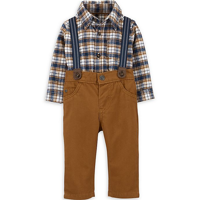 Alternate image 1 for carter's® 3-Piece Plaid Shirt, Suspenders, and Pant Set in Brown