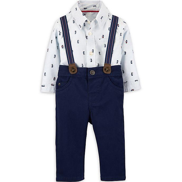 Alternate image 1 for carter's® 3-Piece Penguin Bodysuit, Pant, and Suspenders Set