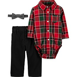 carter's® 3-Piece Plaid Bodysuit, Pant and Bow Tie Set