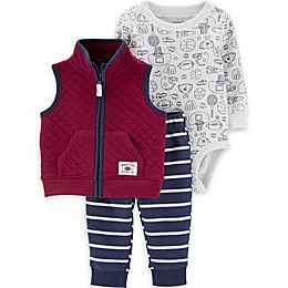 carter's® 3-Piece Sports Bodysuit, Vest, and Pant Set in Burgundy