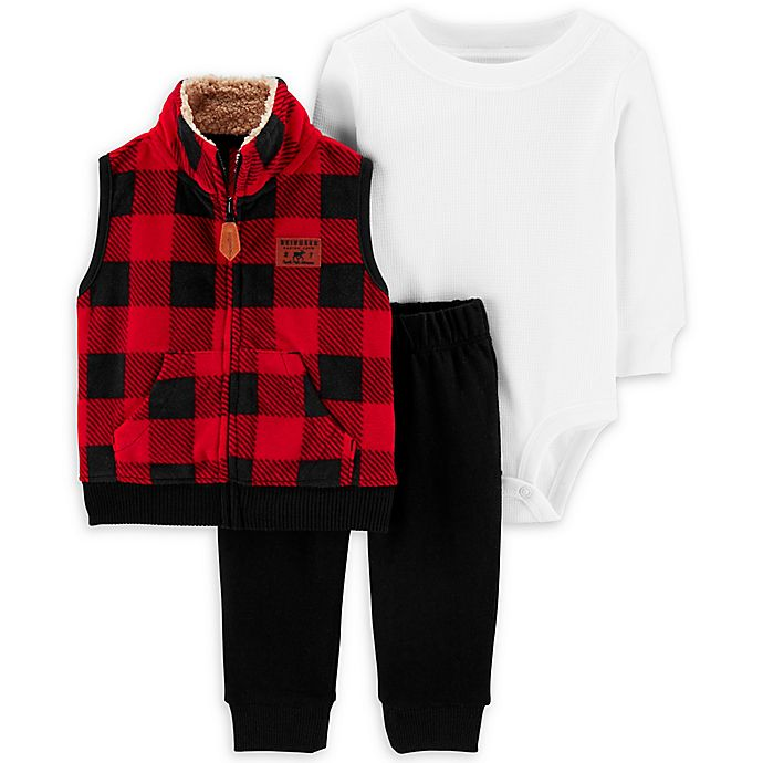 Alternate image 1 for carter's® 3-Piece Buffalo Plaid Vest, Bodysuit, and Pant Set in Red/White