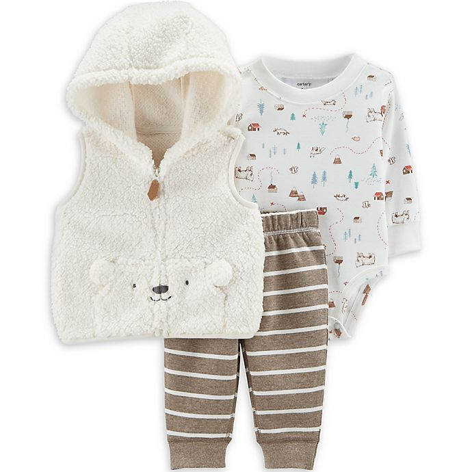 Alternate image 1 for carter's® 3-Piece Sherpa Bear Bodysuit, Vest, and Pant Set in Ivory