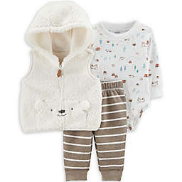 carter's® 3-Piece Sherpa Bear Bodysuit, Vest, and Pant Set in Ivory