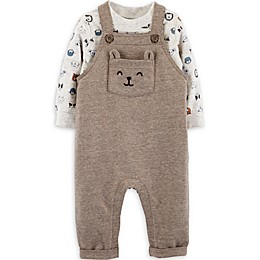 carter's® 2-Piece Bear Shirt and Overall Set in Brown