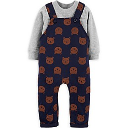 carter's® 2-Piece Bear Overalls and Shirt Set in Navy