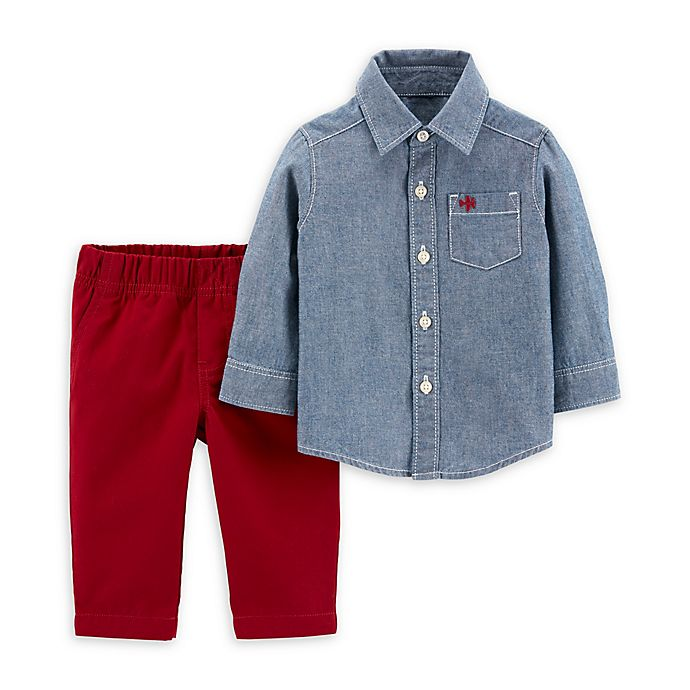 Alternate image 1 for carter's® 2-Piece Chambray Shirt and Canvas Pant Set in Denim/Red