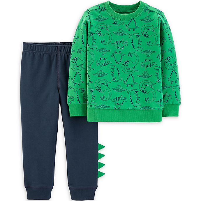 Alternate image 1 for carter's® 2-Piece Dinosaur Top and Pant Set