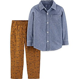 carter's® 2-Piece Chambray Button-Up Top and Pant Set
