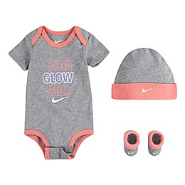 Nike® Size 0-6M 3-Piece You Glow Girl Bodysuit, Hat, and Booties Set