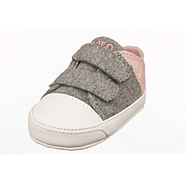 Ralph Lauren Layette Jersey and Canvas Soft Sole Infant Sneaker in Grey/Blush