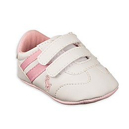 Ralph Lauren Layette Striped Soft Sole Infant Sneaker in Pink/White