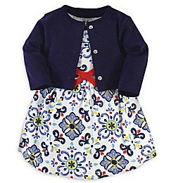 Touched by Nature 2-Piece Blue Tile Organic Cotton Dress and Cardigan Set