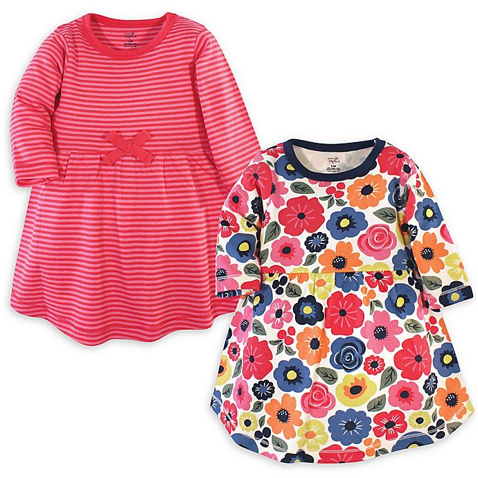 Alternate image 1 for Touched by Nature 2-Pack Bright Flower Organic Cotton Dresses