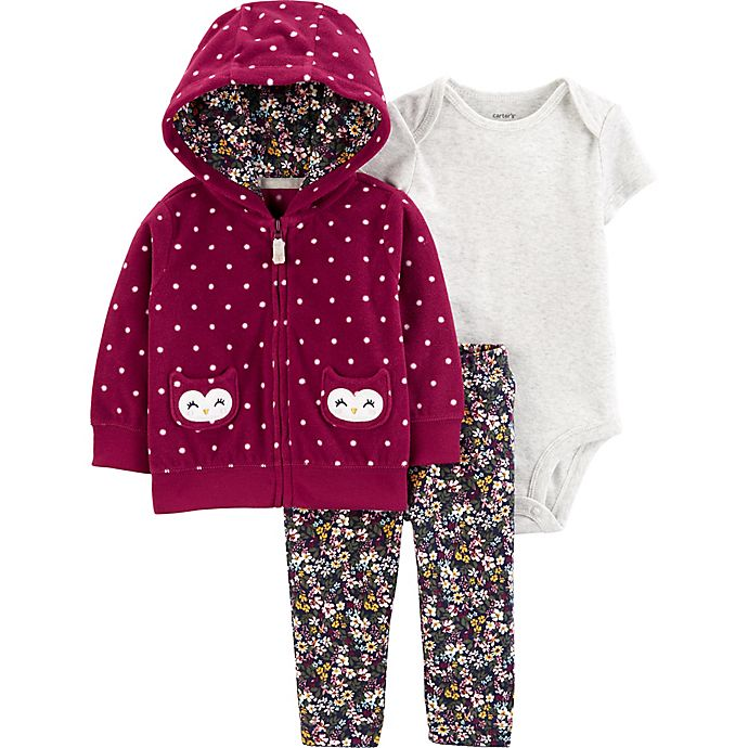 Alternate image 1 for carter's® 3-Piece Owl Polka Dot Hooded Cardigan, Bodysuit, and Pant Set in Burgundy